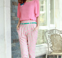 D20017Q 2014 THE NEW STYLE OF WOMEN FASHION LEISURE CHIFFON SUIT +7 POINTS HAROUN PANTS