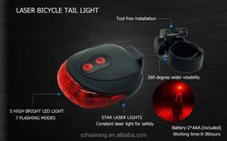 Promotional HW502 Waterproof round shape 5 high Light led laser tail light bike