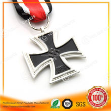 High Relief hockey sport medal pendant with red ribbon