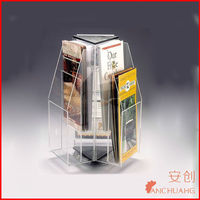 Acrylic wall mount brochure holder-Clear acrylic easel book stand