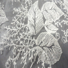 2015 newest design leaf pattern Organza Embroidery Dress Lace Fabric