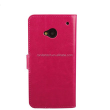 New arrival super thin flip leather phone case for HTC ONE M7