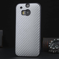 Mobile Phone Carbon Fiber Leather PU Hard Plating Case Cover for HTC one M8