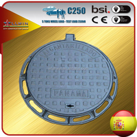 EN124 C250 Round Cast Ductile Iron Manhole Cover With Frames