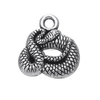 Zinc Alloy Antique Silver Plated Online Wholesale Snake Shaped Animal Charms