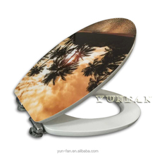 acrylic one-side printing MDF toilet seat with soft-close system