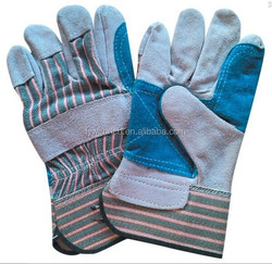 China Wholesale High Quality double palm working gloves leather gloves cow split leather work glove prevent damage to hands