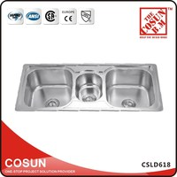 Kitchen Wash Basin Triple Sink Stainless Steel