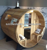 Large outdoor barrel sauna room