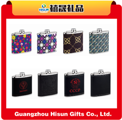 201/304 stainless steel shaped wrapped black leather alcohol 6 oz hip flask with laser engraving and mirror finish