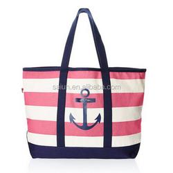 Zipper closure custom striped canvas Beach Bag,Tote style beach towel bag wholesale