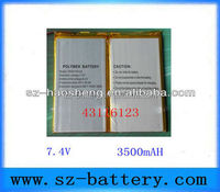 7.4v 3500mah rechargeable 43116123 li-polymer battery for PC Tablet