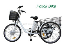 250W cheap adults electric tricycles with EN15194 / 24' lithium Three wheel Electric bike