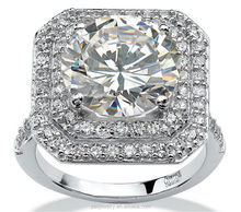 Round 3A Cubic Zirconia Platinum over Sterling Silver wedding Ring