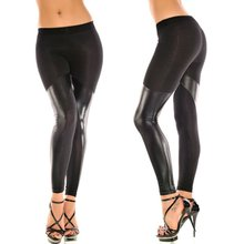 hot sale new tights fashion ladies girls lycra patched black leather leggings sex photo