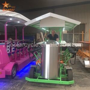 4 колеса, Электрический взрослых Роскошные паб рекламы trike город солнечной энергии педаль Tour пива велосипед