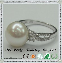 china jewelry manufacturer New product 925 sterling silver pearl ring design setting CZ