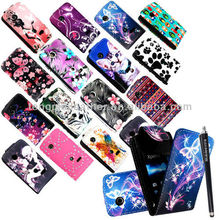 New printed pu leather flip case cover for Sony Xperia Tipo ST21i, cute cartoon leather case for Sony Xperia Tipo ST21i
