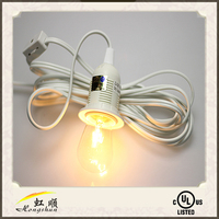 15' UL Listed Clear Power Cord With A Single Socket For Lanterns And Home Lighting (UL /SAA Listed)