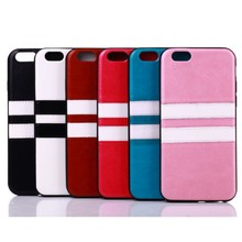 """Hot black/White Striped Leather Phone Protector Case for Apple iPhone 6 Plus (5.5"""")"""