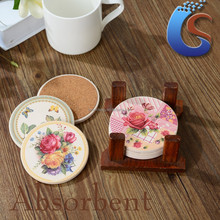 decal round ceramic mug mat set with cork and wooden holder