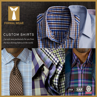 2015 Fashion design 100% cotton brown pattern long sleeve mens dress shirt and pants