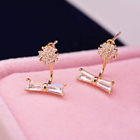 Jewelry Factory 2015 Fashion Office Lady bowknot earring, top design earring of AAA zircon earring for women