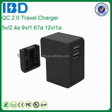 Hot new products folding plug wall USB charger for iphone charger with QC 2.0 tech
