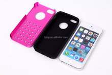 new arrival metal Aluminum Silicone 2 in1 cover case for apple iphone 5 5s