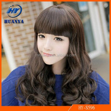 Pear Head Repair Face Fluffy Big Wave of Long Hair Synthetic Chinese Neat bangs American Girl Doll Wig
