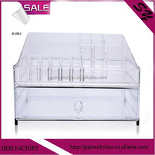 Two layers clear cube transparent cheap clear two draw acrylic drawers organizers for cosmetics
