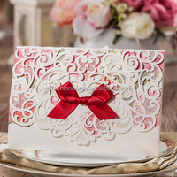Custom Nice Elegant Laser-Cut Wedding Invitation with Ribbon Bow