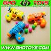 New design cheap popular plastic ball shooting gun, pingpong gun toy can load candy, sport toy