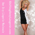 venta al por mayor de moda sexy negro y blanco mini vestido de la señora