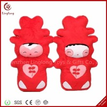 Promotional plush bride and bridegroom for wedding stuffed cartoon action figures soft cartoon dolls