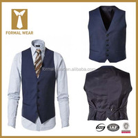 Most popular full canvas 100% superfine wool blue mens work vest