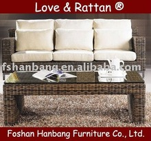rattan three seat sofa and square coffee table