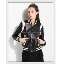 Fashionable new arrival ladies autumn/spring pu leather jacket new design black women leather jacket 2015