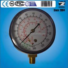 75mm bule steel case r134a manifold refrigerator temperature gauge r134a manifold