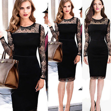 MS20307A ladies black lace dress split joint office ladies sexy lace dress