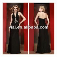 E139 Brazilizan Halter Elegant Beaded Black Evening Dress Prom 2014