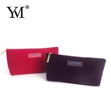 2015 popular beauty fashion zipper velvet cosmetic bag for many uses