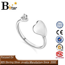 heart design tested 925 silver promotional open ring for girl, cheap silver rings