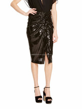 black tight wrap skirt with sequins, midi skirt with fake knot waistline