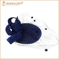 Wholesale Factory Supply Girls Blue Church Hat Felt Hat With Gauze