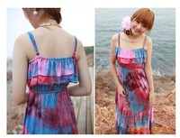 2015 Spaghetti Strap Backless Beach Vintage Ruffle Pleated Ankle Long Women Tie Dye Dress