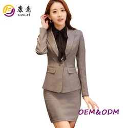 Black one botton no pal office lady uniform business lady suit