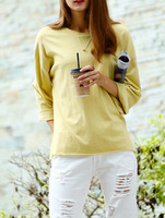 T-shirts Tops fashion women christmas latest design Yello Crew Neck Dropped Shoulder Seam Tshirt