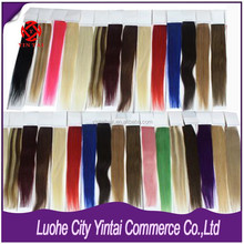 Fresh Color Top Quality 100% Indian Human Tape Hair Extension, Remy Virgin Hair Extension Make You a New Looking