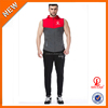Microfiber new design sleeveless fitted tapered track suit, plus size sportwear embroidery logo designs